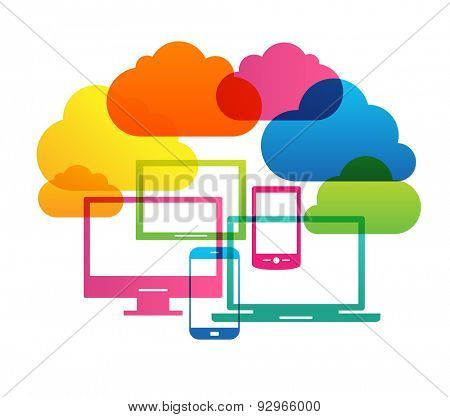 Cloud computing concept. Bright design silhouettes of computers, tablets, phones, laptops and clouds.