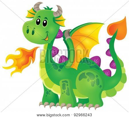 Image with happy dragon theme 1 - eps10 vector illustration.