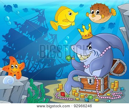 Shark with treasure theme image 3 - eps10 vector illustration.