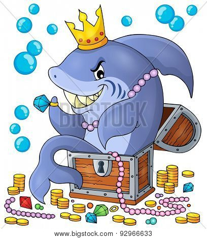 Shark with treasure theme image 1 - eps10 vector illustration.