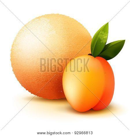 Scoop Ice Cream With Peach Flavor