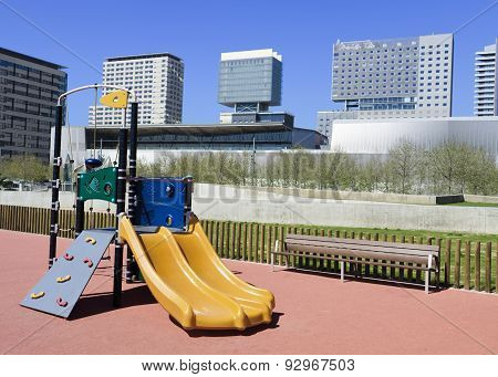Playground and city skyscrapers