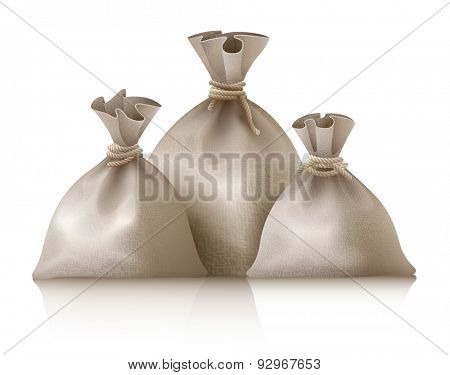 Three full sacks. Eps10 vector illustration. Isolated on white background