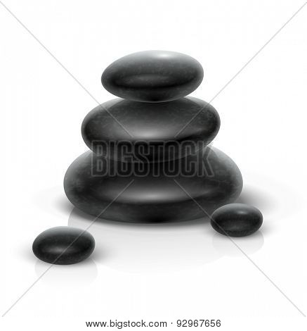 Spa stones black heap. Eps10 vector illustration. Isolated on white background