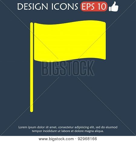 Flag Icon. Location Marker Symbol. Flat Design Style.