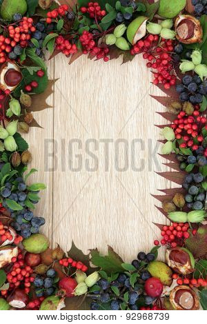 Autumn fruit and nut background border over oak  background.