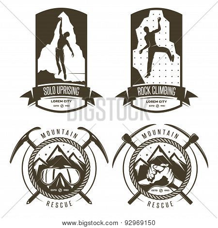 Rock climbing and mountain rescue vintage labels.