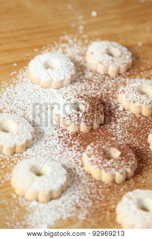 Italian Canestrelli Biscuits Sprinkled With Powdered Sugar And Cocoa