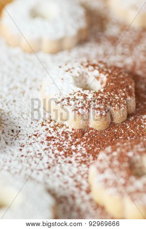 Italian Canestrelli Cookies Sprinkled With Powdered Sugar And Cocoa