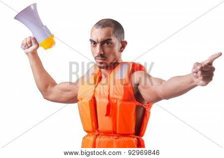 Man wearing vest with loudspeaker