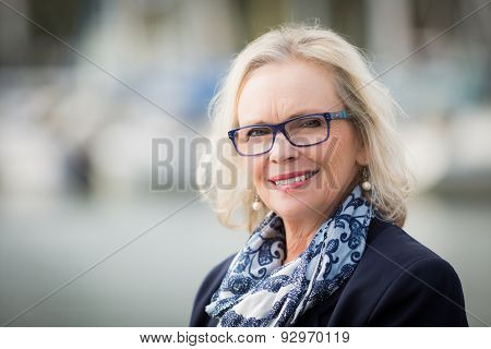 Blonde elderly woman