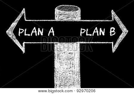 Opposite Arrows With Plan A Versus Plan B
