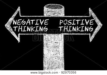 Opposite Arrows With Negative Versus Positive Thinking