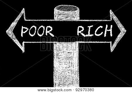 Opposite Arrows With Poor Versus Rich