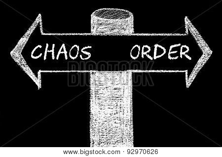 Opposite Arrows With Chaos Versus Order