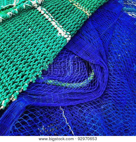 Green And Blue Fishing Nets
