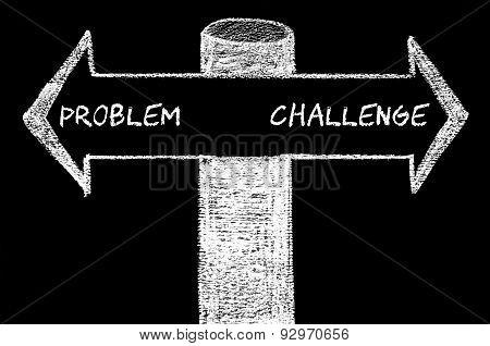 Opposite Arrows With Problem Versus Challenge