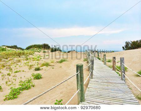 Spanish Beach With White Sand Dunes