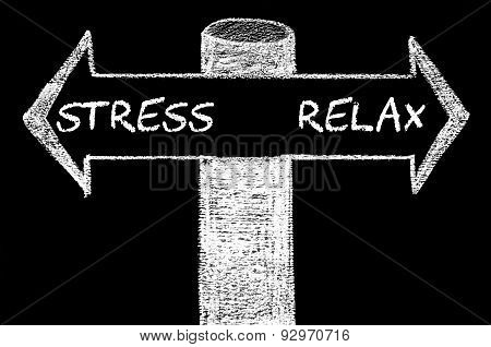 Opposite Arrows With Stress Versus Relax.