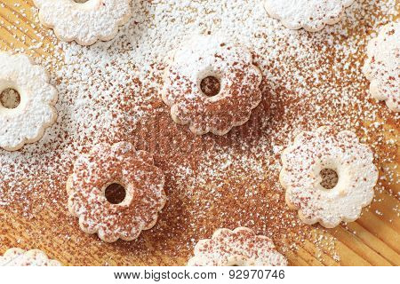 Italian Canestrelli Biscuits With Icing Sugar And Cocoa Power