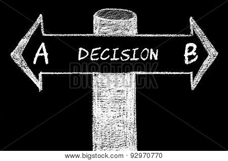 Opposite Arrows With Decision A Versus Decision B