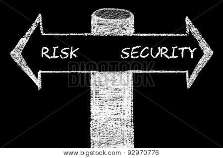 Opposite Arrows With Risk Versus Security