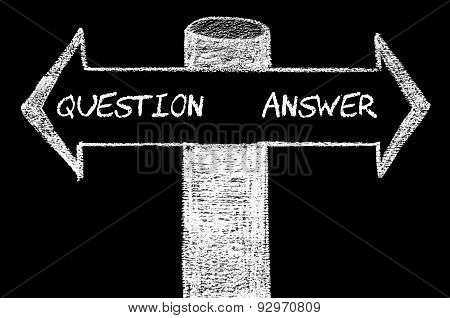 Opposite Arrows With Question Versus Answer