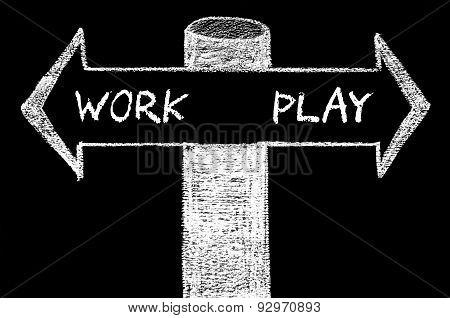 Opposite Arrows With Work Versus Play
