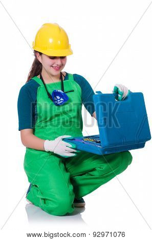 Woman builder with toolkit isolated on white