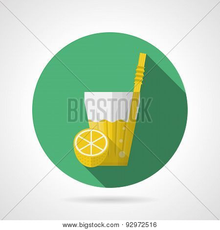 Flat color vector icon for glass of lemonade