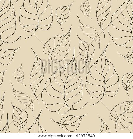 Seamless pattern with leaves in vintage style. Seamless pattern for your design wallpapers, pattern fills, web page backgrounds, surface textures.