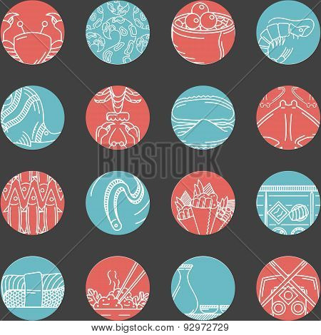 Flat vector round line icons for seafood