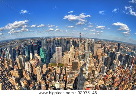 New York City skyline in HDR throurgh fisheye lens