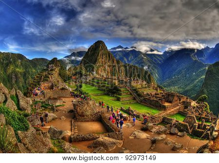 Machu Picchu in a cloudy weather in HDR, Peru