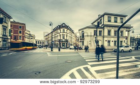 Warsaw, Poland - March 08, 2015: streets and buildings in a center of Warsaw, Poland