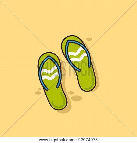 Beach slippers icon - Vector