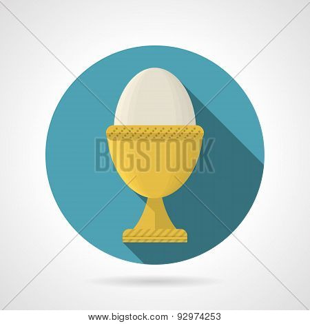 Flat color vector icon for boiled egg