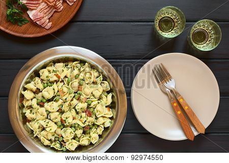 Tortellini Salad with Peas and Bacon