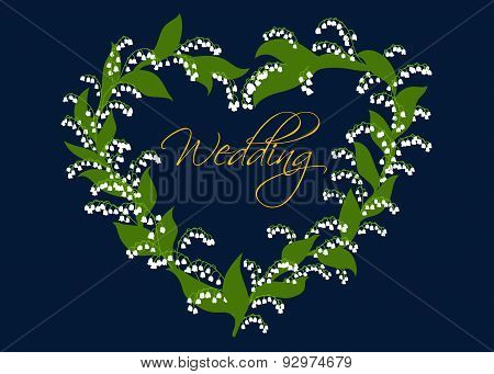 Wedding card design with lilies of the valley