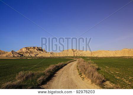 pathway through arid landscape of Bardenas Reales Spain