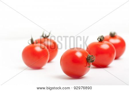 Organic Red Cherry Tomatoes on White Background