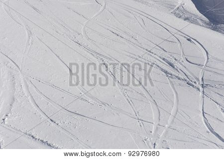 Tracks on a mountain Slope, freeride in deep snow