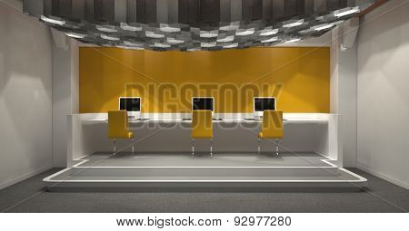 Modern windowless internet cafe with yellow and grey decor and a row of three computer monitors on a raised platform at the end lit by a group of hexagonal down lights. 3d Rendering.