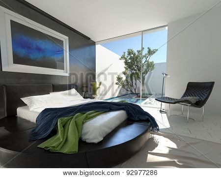 Luxury black leather bed on a circular podium in a modern bedroom with grey and white decor and an adjacent enclosed outdoor patio with tree. 3d Rendering.