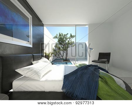 Upmarket bedroom with a black leather double bed on a circular podium and floor-to-ceiling glass door leading to a sunny enclosed patio with a tree. 3d Rendering.