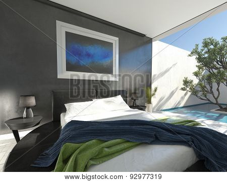 Modern black leather bed on a round plinth in a sunny spacious bedroom with grey decor and glass doors leading to an outdoor walled patio