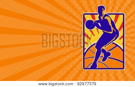 Business Card Basketball Player Dribbling Ball Retro