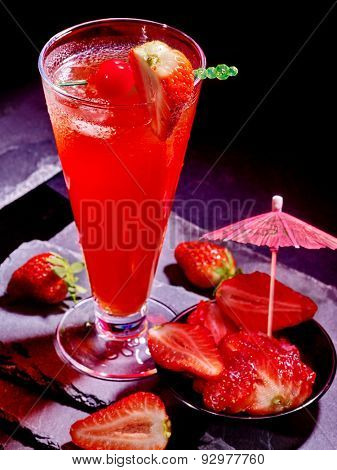 Strawberry cocktail with cherry and pineapple in highball glass . Cocktail card 64.