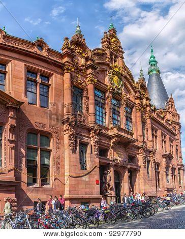 HEIDELBERG, GERMANY - MAY 28, 2015: Facade of the historical main building of Heidelberg University library in Germany