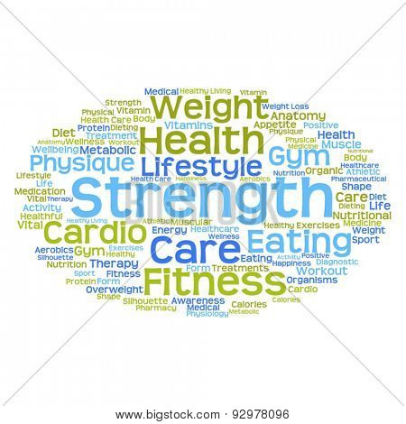 Vector concept or conceptual abstract health word cloud or word cloud